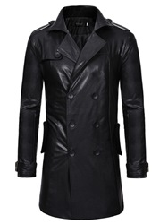 Ericdress Plain Double-Breasted Mid-Length Mens Leather Jacket фото