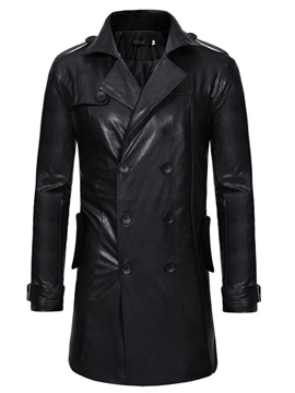 Ericdress Plain Double-Breasted Mid-Length Mens Leather Jacket