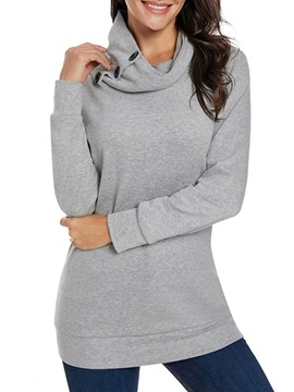 Ericdress Button Wrapped Regular Mid-Length Thin Hoodie