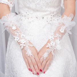 Ericdress Appliques Lace Wrist Wedding Gloves 2019
