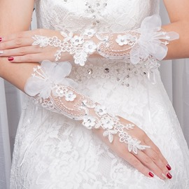 Ericdress Appliques Beading Elbow Wedding Gloves 2019
