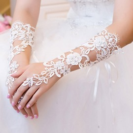 Ericdress Elbow Lace Beading Wedding Gloves 2019
