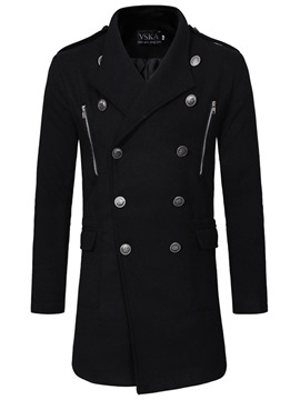Ericdress Plain Button Mid-Length Mens Casual Woolen Coats