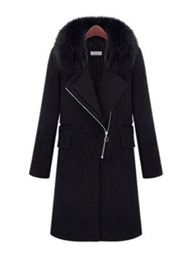 Ericdress Regular Zipper Flocking Winter Long Overcoat