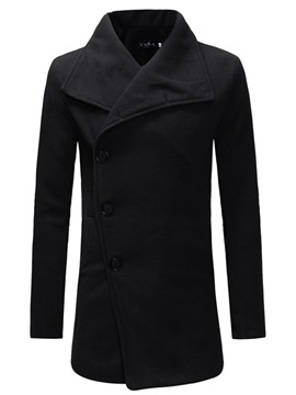 Ericdress Plain Single-Breasted Mens Woolen Coats