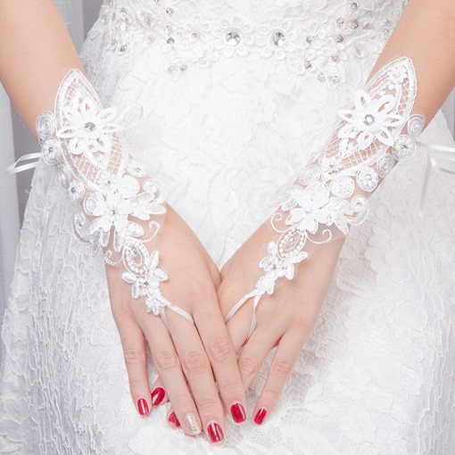 Ericdress Beading Lace Wrist Wedding Gloves 2019