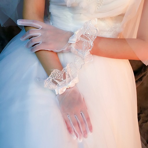 Ericdress Finger Wrist Bowknot Wedding Gloves 2019