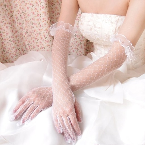 Ericdress Lace Finger Elbow Wedding Gloves 2019