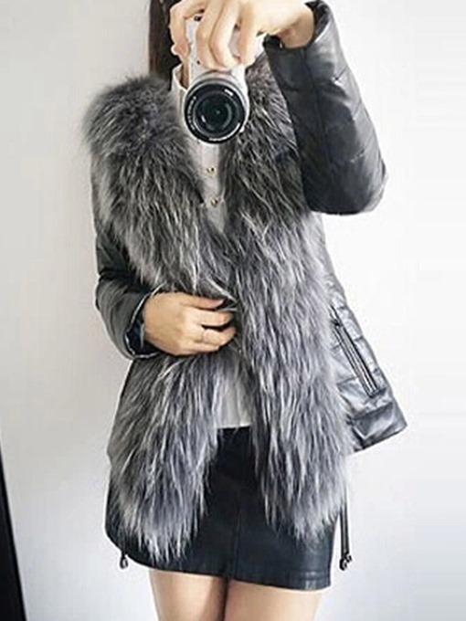 Ericdress Plain Mid-Length Slim Thick Winter Faux Fur Overcoat