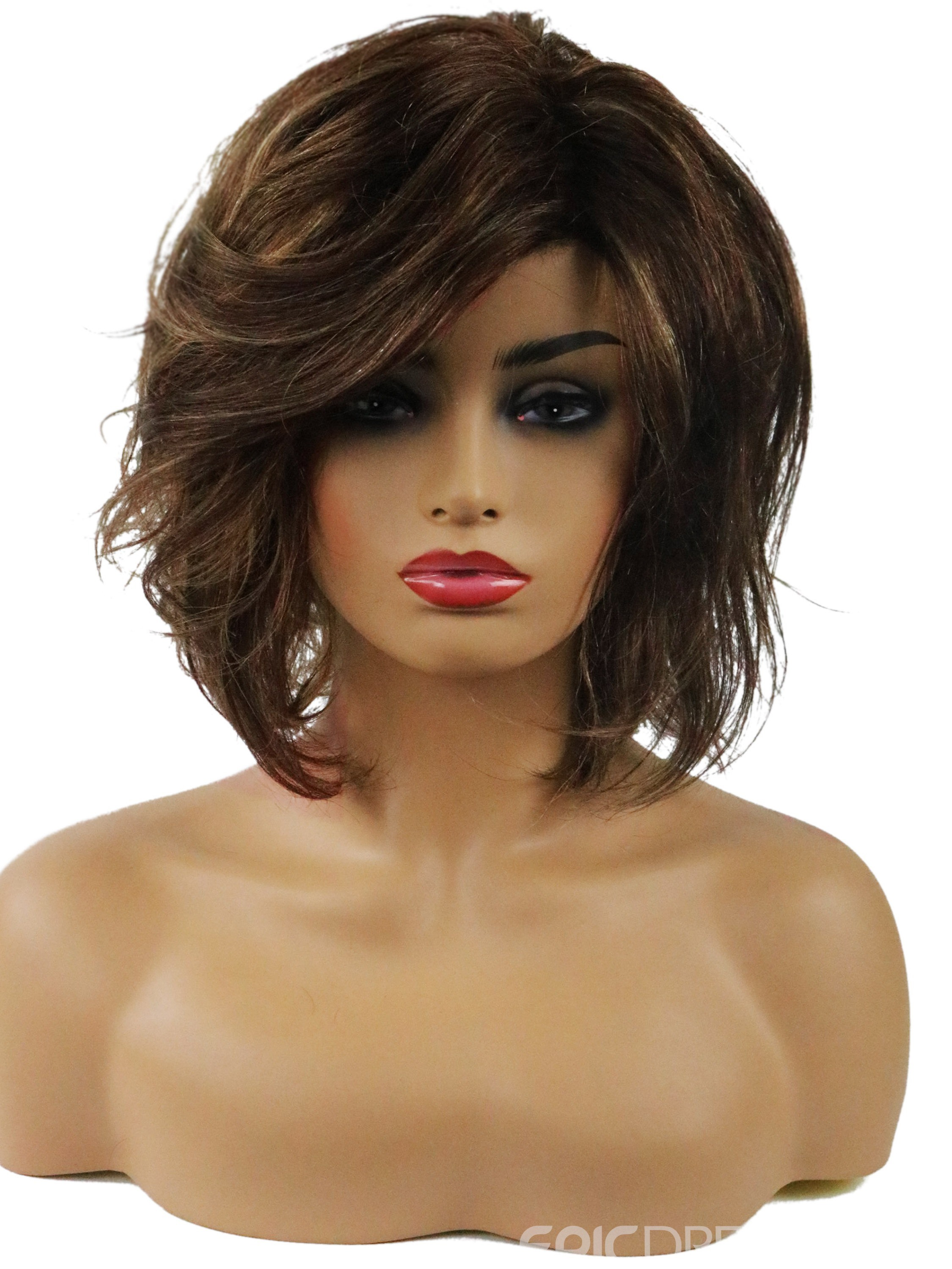 Ericdress Hot Loose Wave Side Swept Human Hair Women Capless Wigs 10 Inches