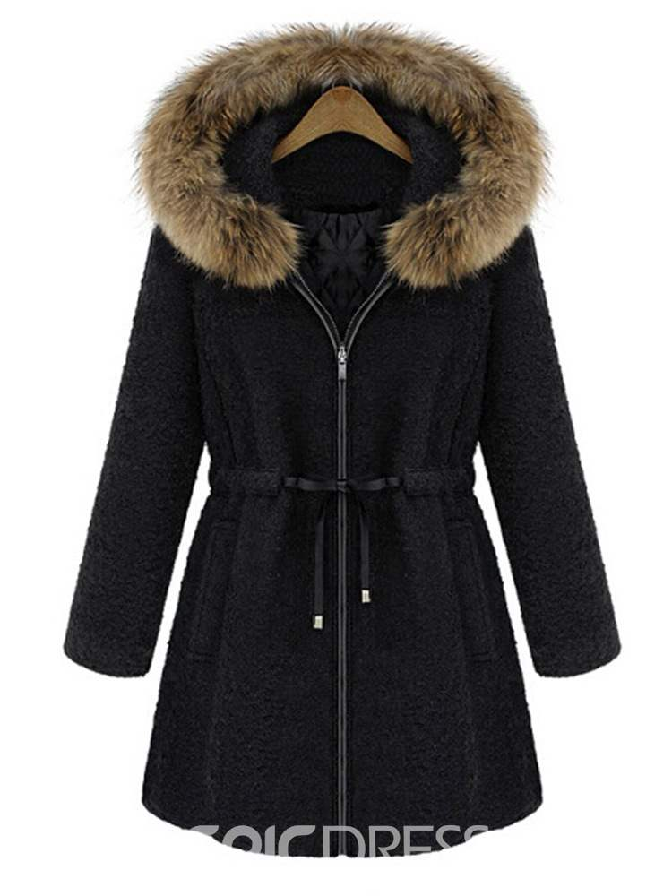 Ericdress Slim Zipper Flocking Mid-Length Winter Overcoat