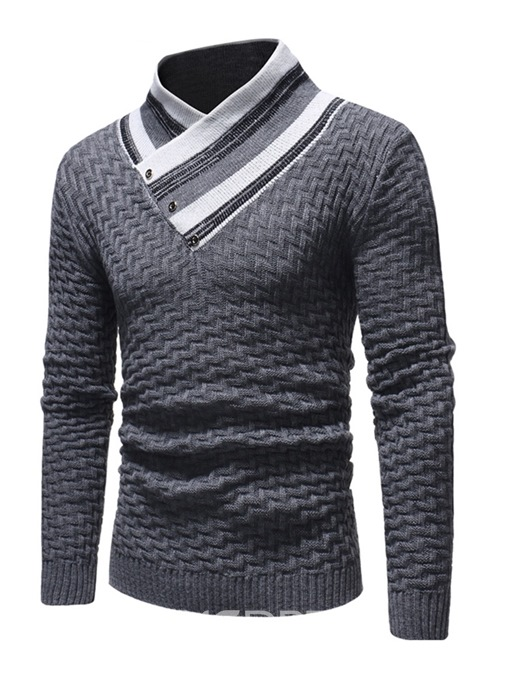 Ericdress Patchwork High Neck Mens Casual Sweaters