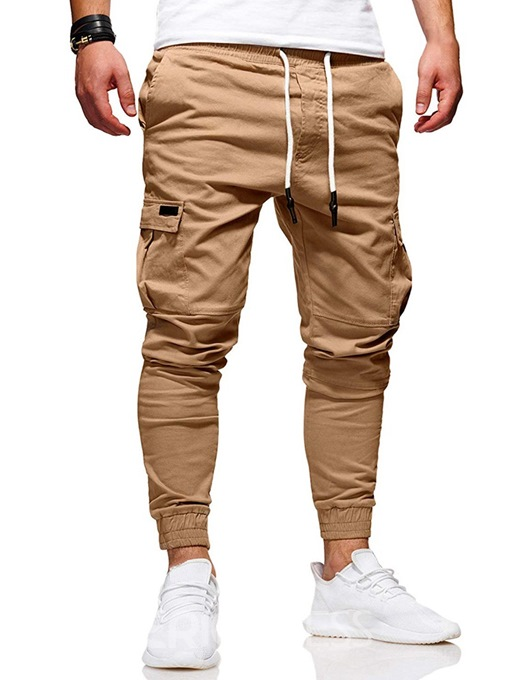 Ericdress Slim Side Pocket Lace-Up Plain Mens Casual Pants