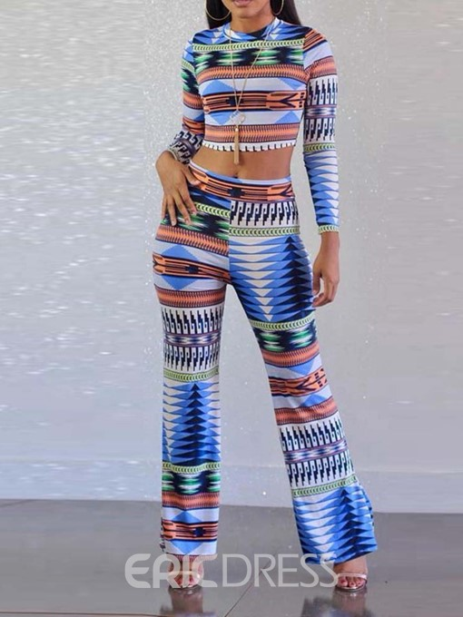 Ericdress Color Block Fashion Print Pullover T-Shirt and Pants Two Piece Sets