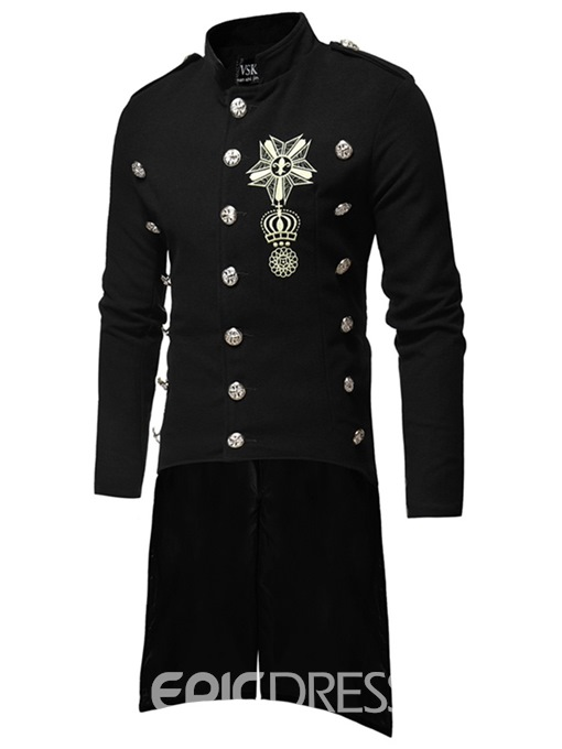 Ericdress Embroidery Long Asymmetric Mens Casual Woolen Costumes