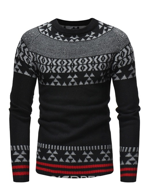 Ericdress Patchwork Striped Color Block Mens Casual Sweaters