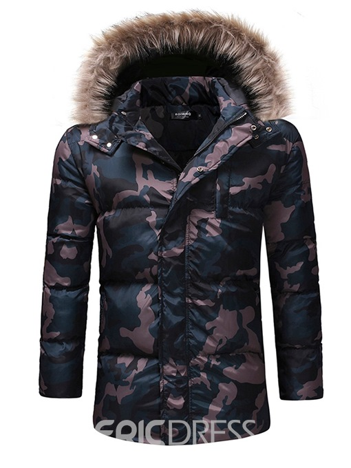 Ericdress Camouflage Thick Hooded Zipper Casual Mens Down Jacket