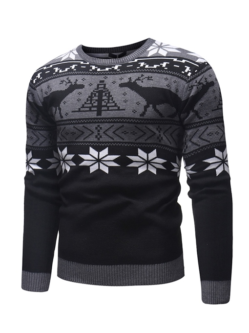 Ericdress Patchwork Printed Color Block Scoop Mens Casual Sweaters
