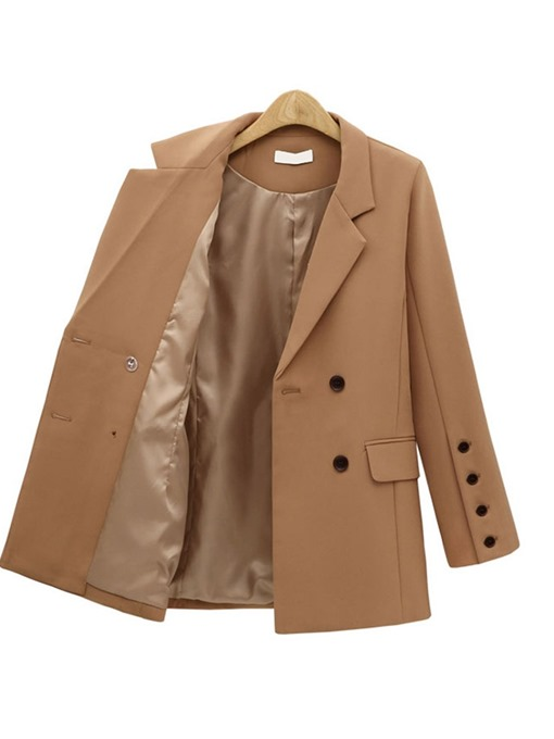 Ericdress Notched Lapel Double-Breasted Plain Korean Flare Sleeve Blazer