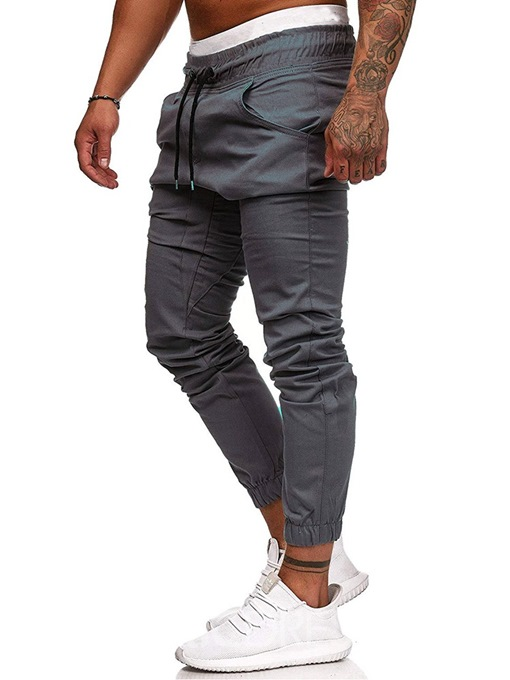 Ericdress Lace-Up Slim Plain Mens Casual Pants