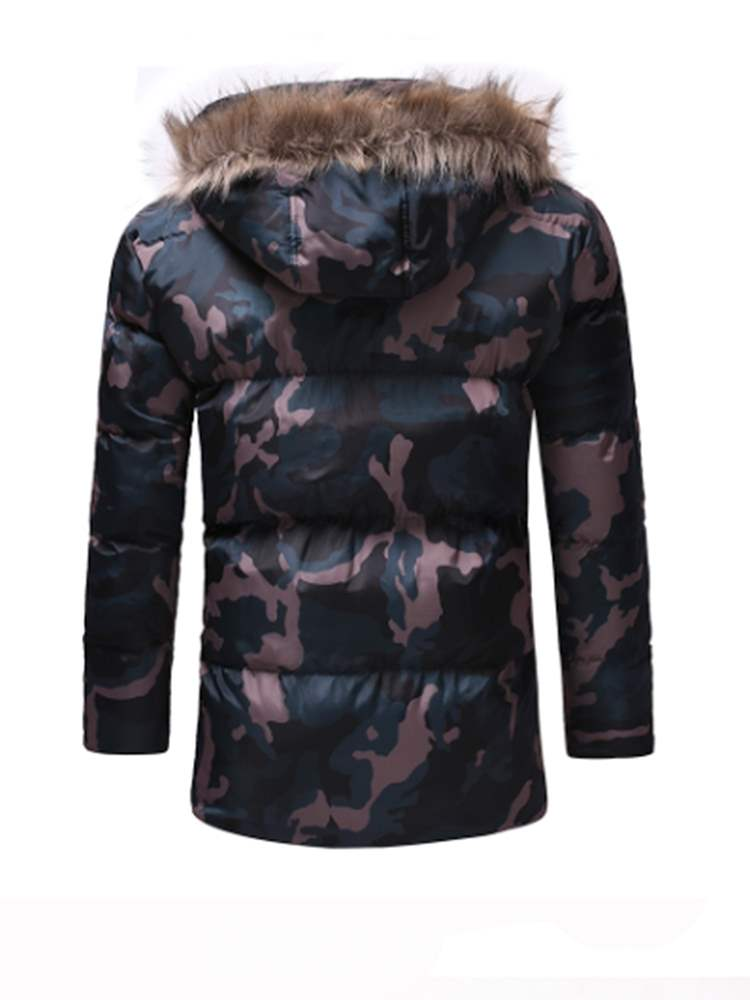 Ericdress Camouflage Mid-Length Mens Quilted Down Jacket