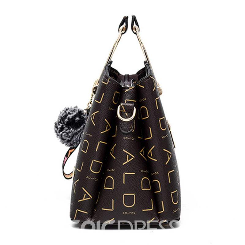 Ericdress Letter Print PU Hobos Tote Bags