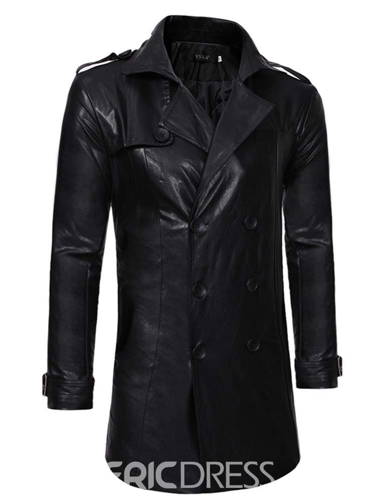 outlet online recognized brands select for latest Ericdress Plain Double-Breasted Mid-Length Mens Leather Jacket