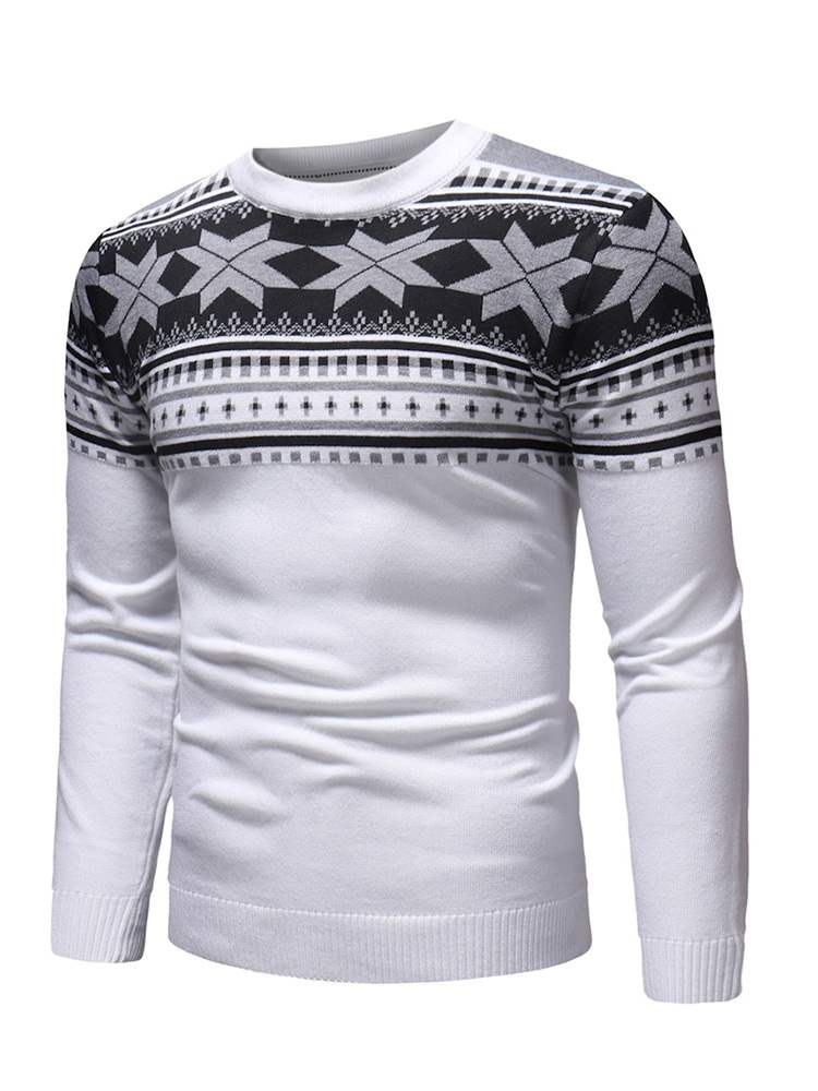 Ericdress Patchwork Scoop Mens Casual Pullover Sweaters