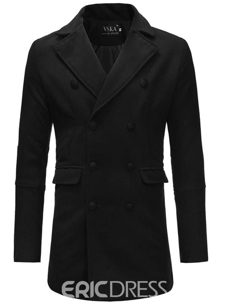 Ericdress Plain Double- Breasted Mid-Length Mens Woolen Trench Coat
