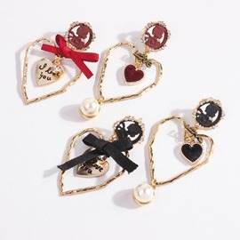 Ericdress Retro Heart-Shaped Bowknot Earrings