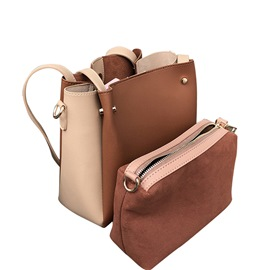 Ericdress PU Patchwork Barrel-Shaped Tote Bags