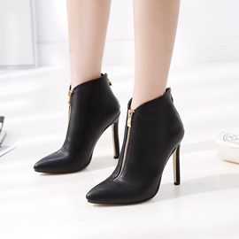 Ericdress Back Zip Pointed Toe Stiletto Heel Women's Ankle Boots