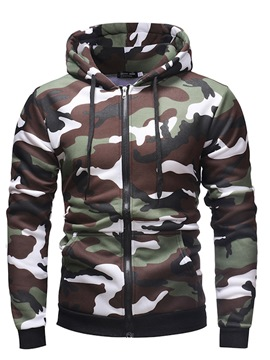 Ericdress Camouflage Zipper Mens Casual Cardigan Hoodies