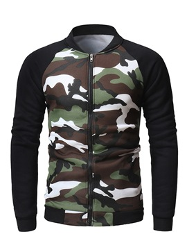 Ericdress Patchwork Camouflage Mens Casual Cardigan Hoodies