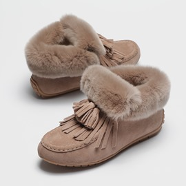 Ericdress Plain Faux Fur Round Toe Slip-On Women's Boots