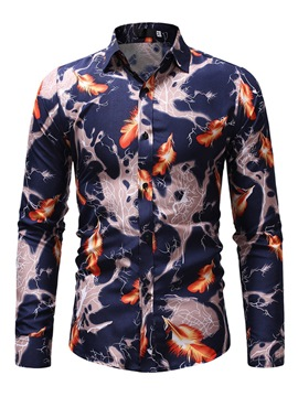 Ericdress Printed Lapel Slim Mens Casual Shirts