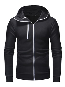 Ericdress Plain Zipper Hooded Mens Hoodies