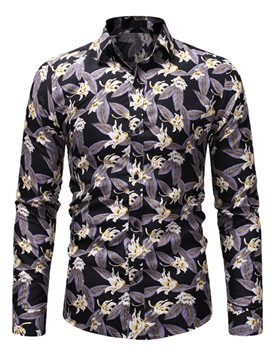 Ericdress Floral Print Lapel Slim Mens Shirts