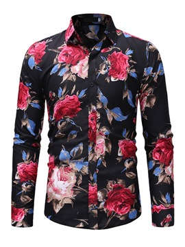 Ericdress Lapel Floral Printed Mens Slim Shirts