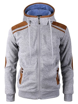 Ericdress Color Hooded Block Zipper Mens Casual Cardigan Hoodies
