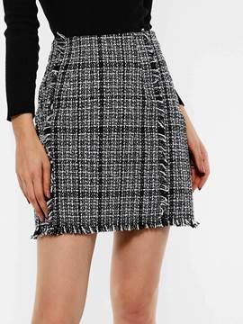 Ericdress Bodycon Zipper Ladylike Plaid High-Waist Mini Skirt