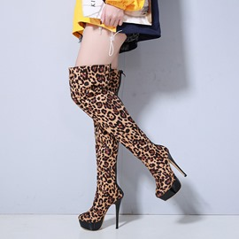 Ericdress Leopard Round Toe Back Zip Women's Knee High Boots