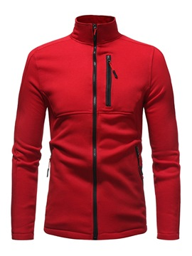 Ericdress Color Block Stand Collar Slim Mens Casual Hoodies