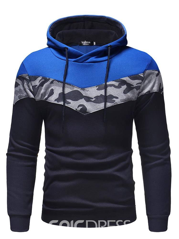 Ericdress Camouflage Patchwork Hooded Mens Casual Hoodies