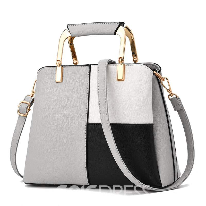 Ericdress Color Block PU Shell Tote Bags