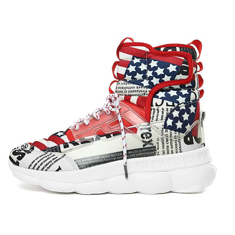 Ericdress Color Block High-Cut Upper Lace-Up Men's Chic Sneakers
