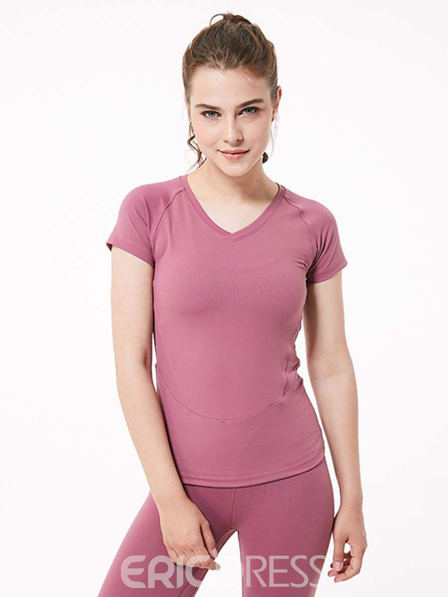 Ericdress Nylon Quick Dry Solid Yoga Pullover T-shirt