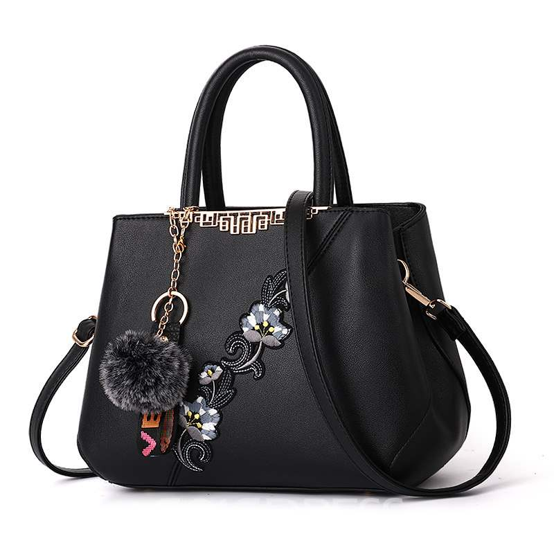 Ericdress PU Floral Embroidery Barrel-Shaped Tote Bags