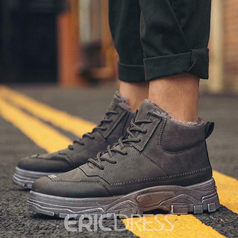 Ericdress PU Lace-Up Front Men's Winter Boots