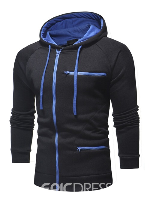 Ericdress Plain Zipper Slim Hooded Mens Cardigan Hoodies